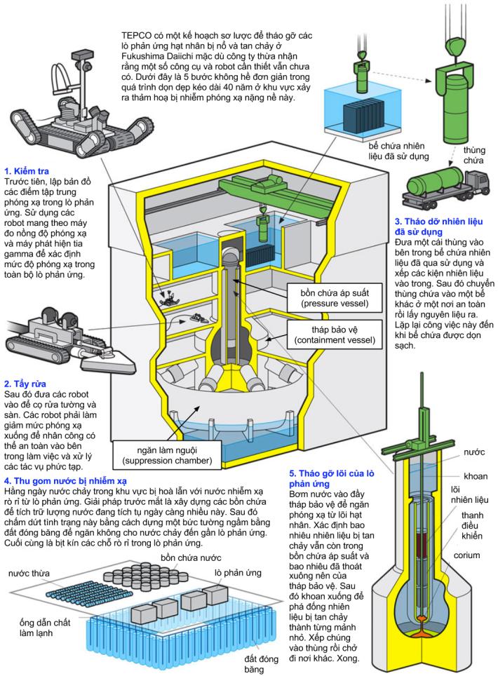 Các bước để tháo dỡ một lò phản ứng hạt nhân bị tan chảy. Minh hoạ: James Provost; Nguồn: TEPCO.